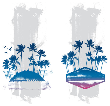 cancun: stencil summer backgrounds with palms