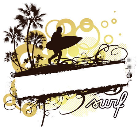 surfer: stencil summer banner with waves palms and hibiscus Illustration
