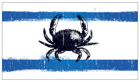 inky: stencil inky summer flag with crab