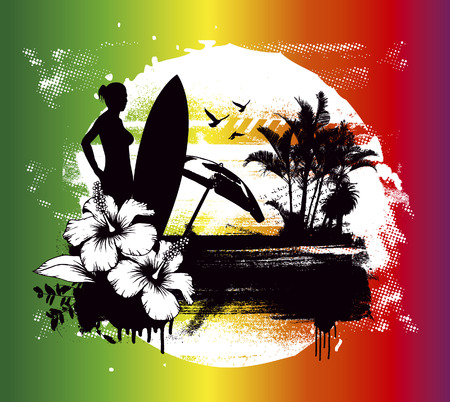 cancun: grunge summer scene with girl and longboard Illustration