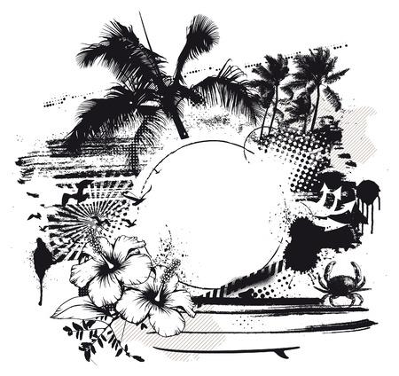 vintage grunge summer scene with copy space Ilustrace