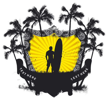funny surfer: stencil summer shield with surfer and palms Illustration