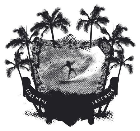 funny surfer: stencil summer shield with surfer riding a pipeline wave