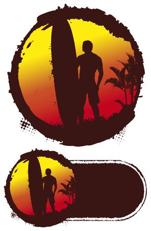 tabla de surf: c�rculo del grunge con la puesta de sol surfista y gran longboard