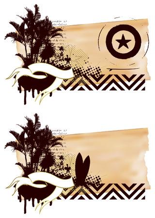 tabla de surf: grunge bandera de surf con tabla de palmas y la cresta Vectores