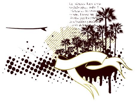 tabla de surf: bandera de surf plantilla con mesa y palmas
