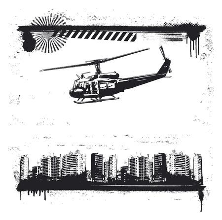 vintage grunge city frame with old helicopter