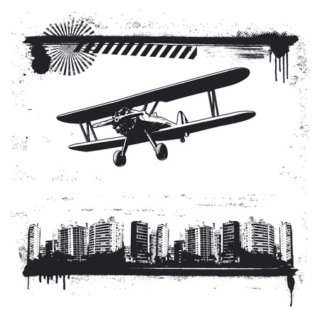 grunge city frame with propeller airplane flying