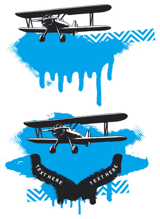 plane with grunge background and copy space