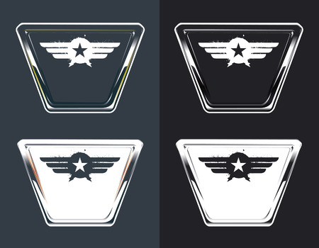 copy space: retro airline glossy shields with copy space