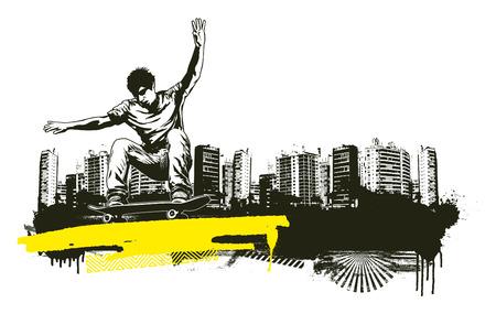 acrobatic skate jump with grunge city backdrop Illustration