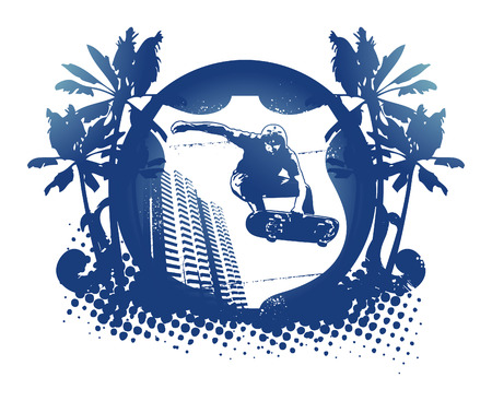 racing skates: blue skate emblem shield with palms and city background