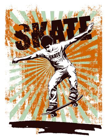 patín: cartel de la plantilla de skate con el piloto acróbata