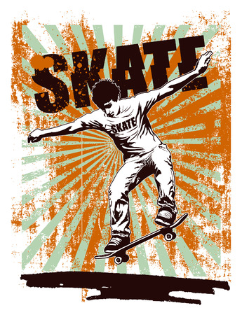 skateboard: skate stencil poster with acrobat rider