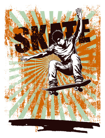 aereal: skate grunge poster with aereal jump
