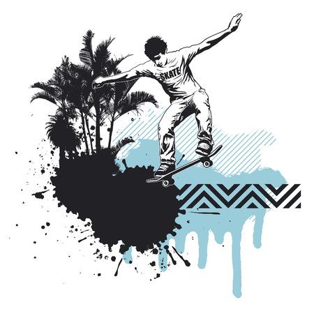 racing skates: skate rider with grunge summer backdrop