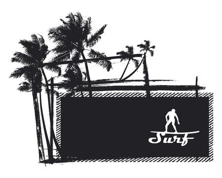 tabla de surf: grunge y la bandera de la vendimia del verano con copy_space Vectores