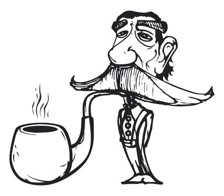 old serious man smoking one big pipe