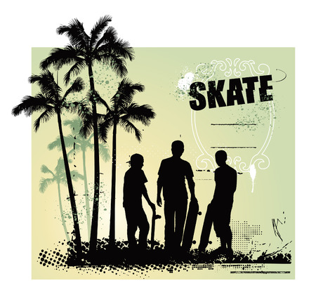 skate scene with three riders with tables Vector