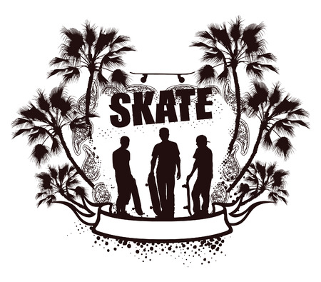 grunge skate emblem with palms and riders Vector