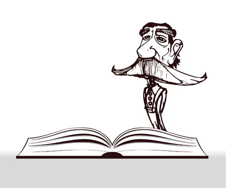know how: teacher cartoon with big mustache and open book Illustration