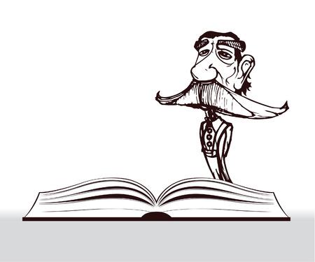 economist: teacher cartoon with big mustache and open book Illustration