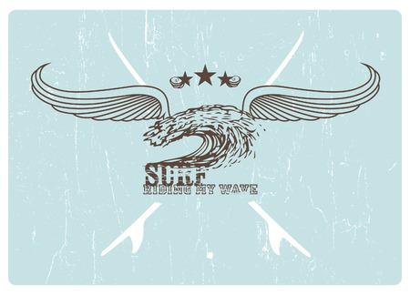 tabla de surf: cresta resaca del vintage con las alas y el fondo del grunge