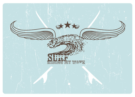 tidal wave: vintage surf crest with wings and grunge background