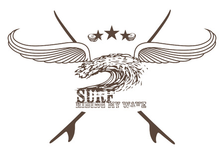 tidal wave: vintage surf crest with wings wave and copy space