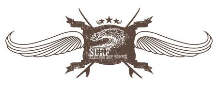 tabla de surf: cresta resaca del vintage con las alas de las olas y tablas de surf