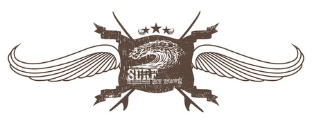 tidal wave: vintage surf crest with wings wave and surfboards