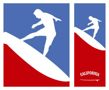 tabla de surf: americano posters de surf con salto surfer Vectores