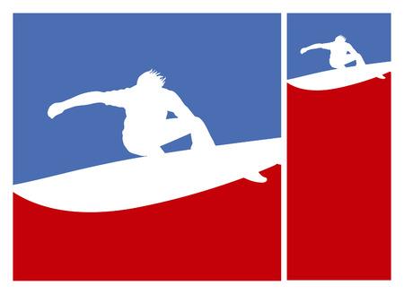 tabla de surf: americano posters cultura juvenil de surf surfista con cresta de la ola