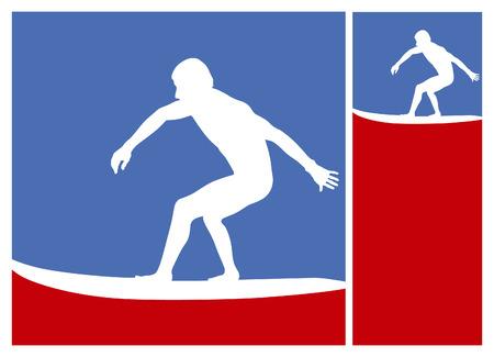 tabla de surf: americano posters de surf con surfistas de deslizamiento de la ola Vectores