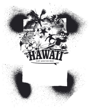 tidal wave: hawaiian stencil frame with beauty beach and surfer Illustration