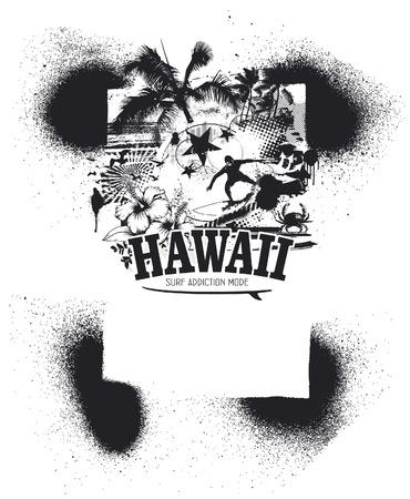 tabla de surf: marco de plantilla hawaiano con playa de belleza y surfista