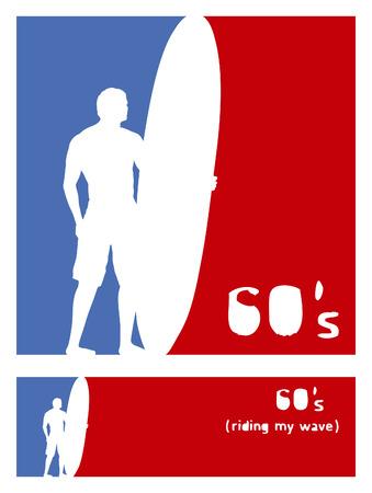 tabla de surf: americano posters sesenta surf con piloto Vectores