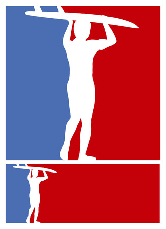 tabla de surf: americano posters de surf con los colores azul y rojo
