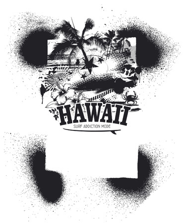 inky: hawaiian summer inky background with summer objects Illustration