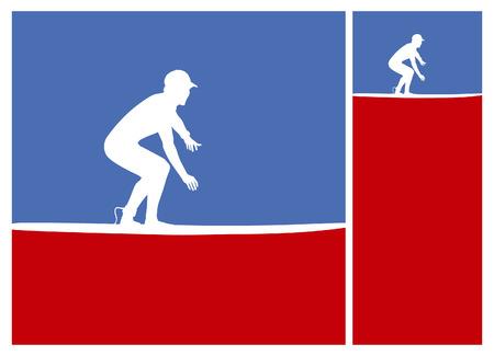 tabla de surf: americano posters cultura surf en colores azul y rojo Vectores