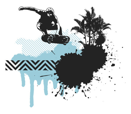 skater jumping with grunge inky summer background Vector