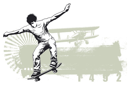 young culture: skate scene with skater jumping and vintage background