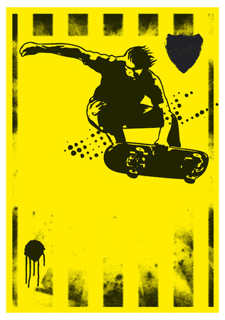 grunge skate poster with rider in acrobatic jump Vector