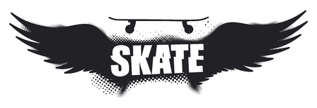 grunge wings: Schermo dell'annata pattinare con skateboard e grunge ali