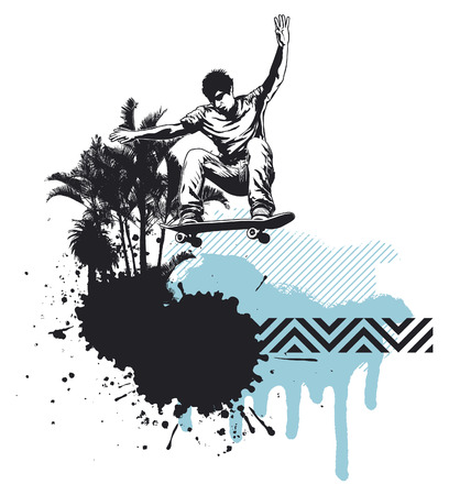 skater jumping with grunge and inky summer background Vector