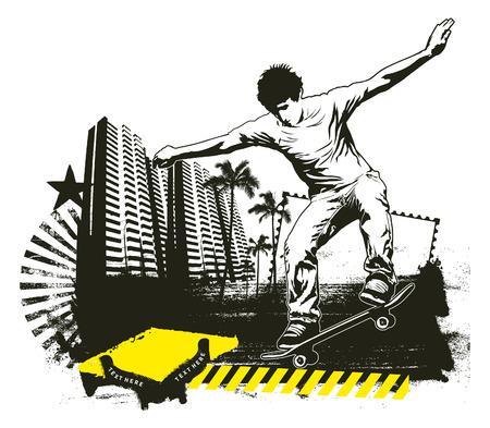 urban grunge: skate rider with grunge urban background