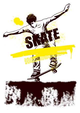 skater riding on the ground with grunge style Vector