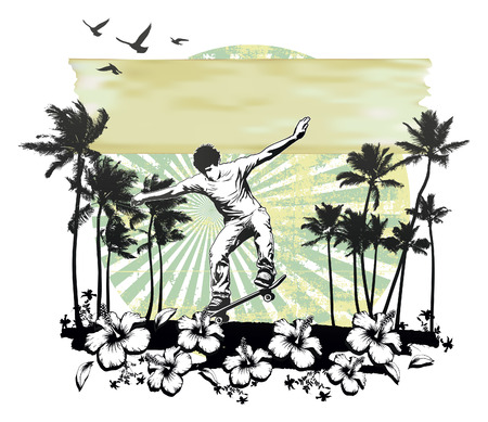 summer scene with hibiscus and skater