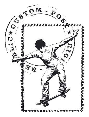 tribute: tribute seal with skater Illustration