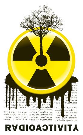 radiactividad: stencil radiactividad cantar con el �rbol y el texto